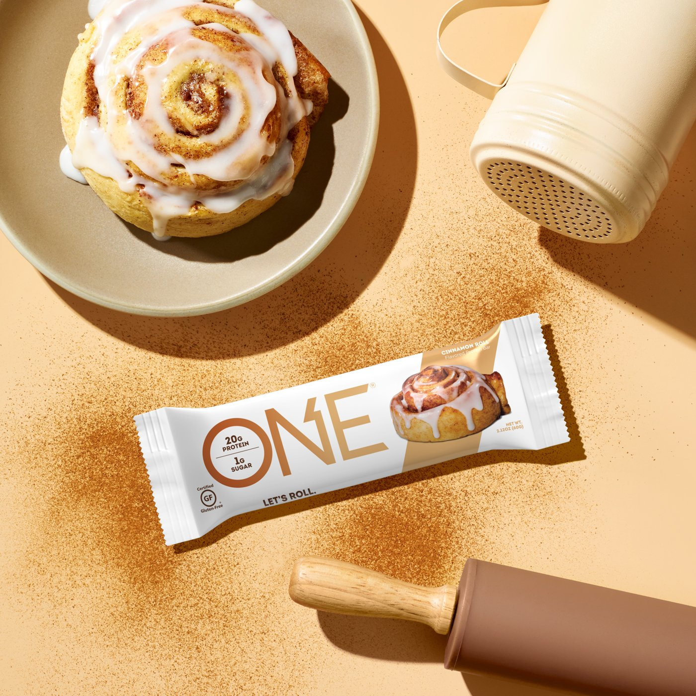 ONE Bars Cinnamon Roll Protein Bar | Let's Roll