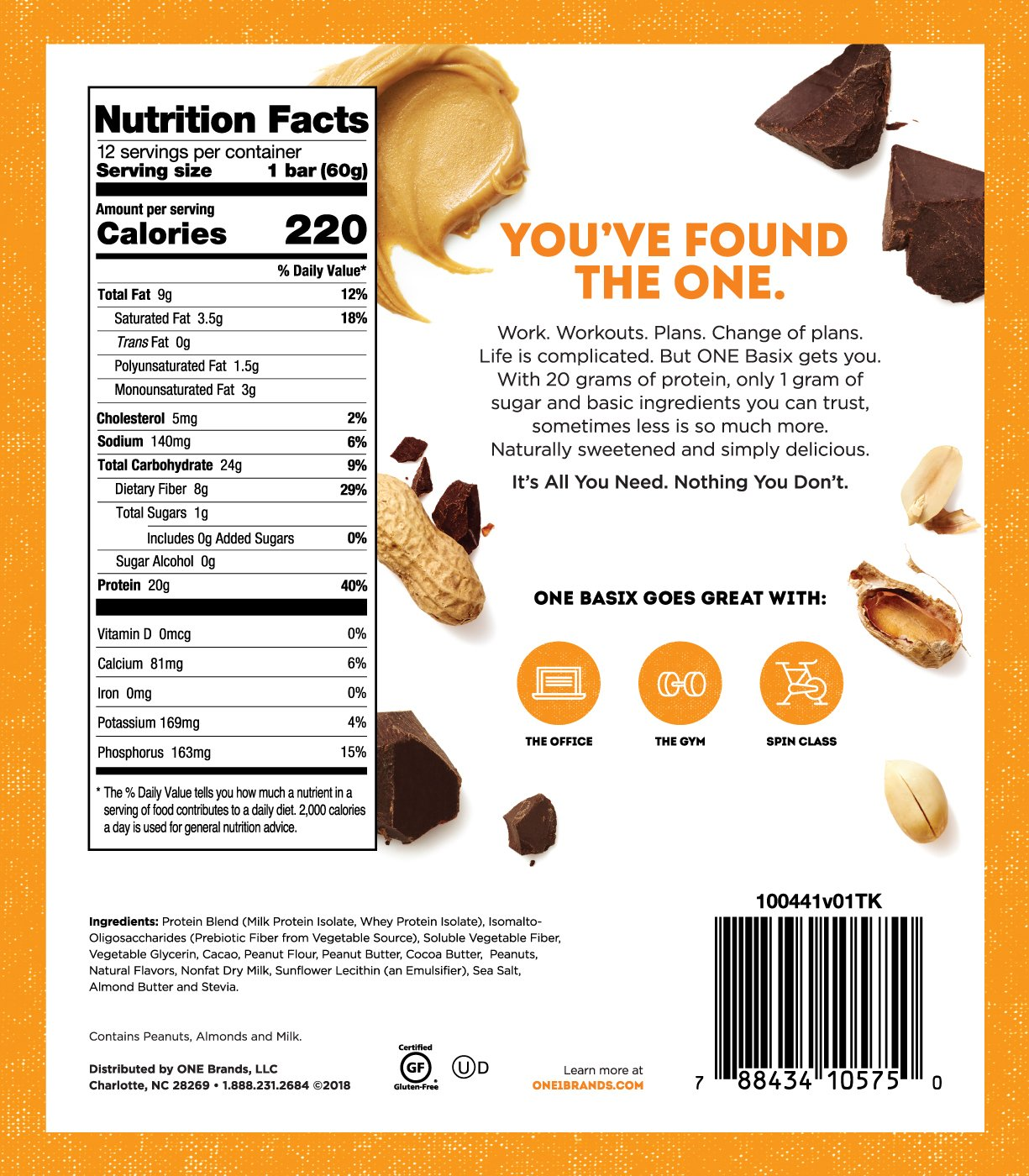 ONE Basix Peanut Butter Chocolate Chunk Protein Bar | 20g Protein. 1g Sugar.