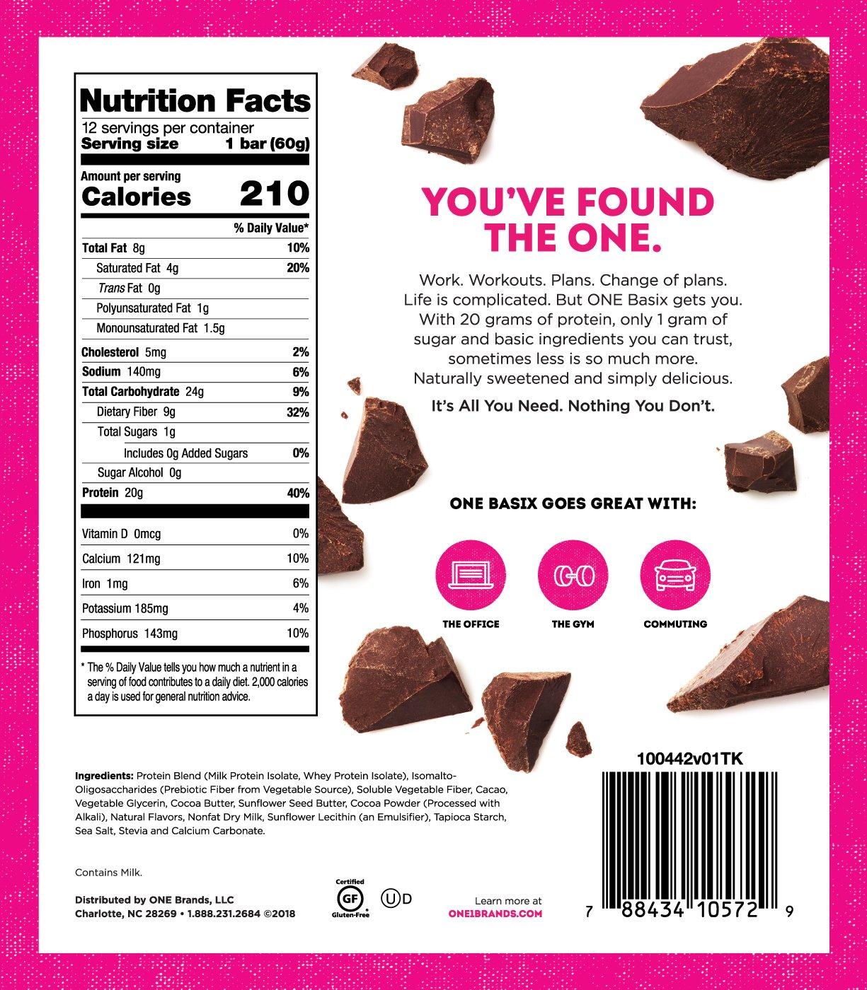 ONE Basix Triple Chocolate Chunk Protein Bar | 20g Protein. 1g Sugar.