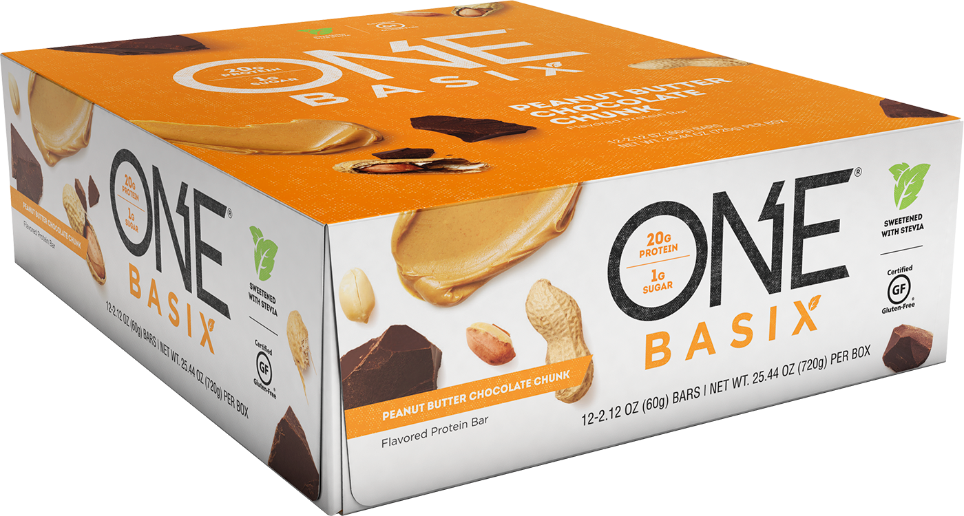 ONE Basix Peanut Butter Chocolate Chunk Protein Bar | Box of 12