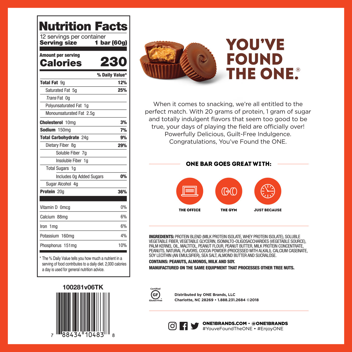 ONE Bar Peanut Butter Cup Protein Bar | 20g Protein. 1g Sugar.