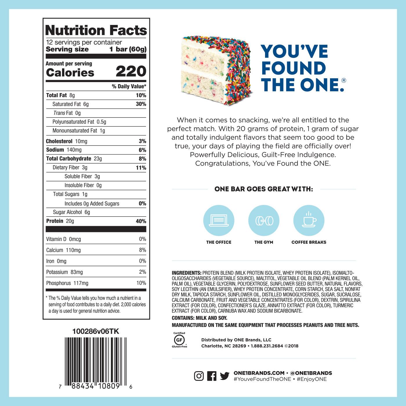 ONE Bar Birthday Cake Protein Bar | 20g Protein. 1g Sugar.