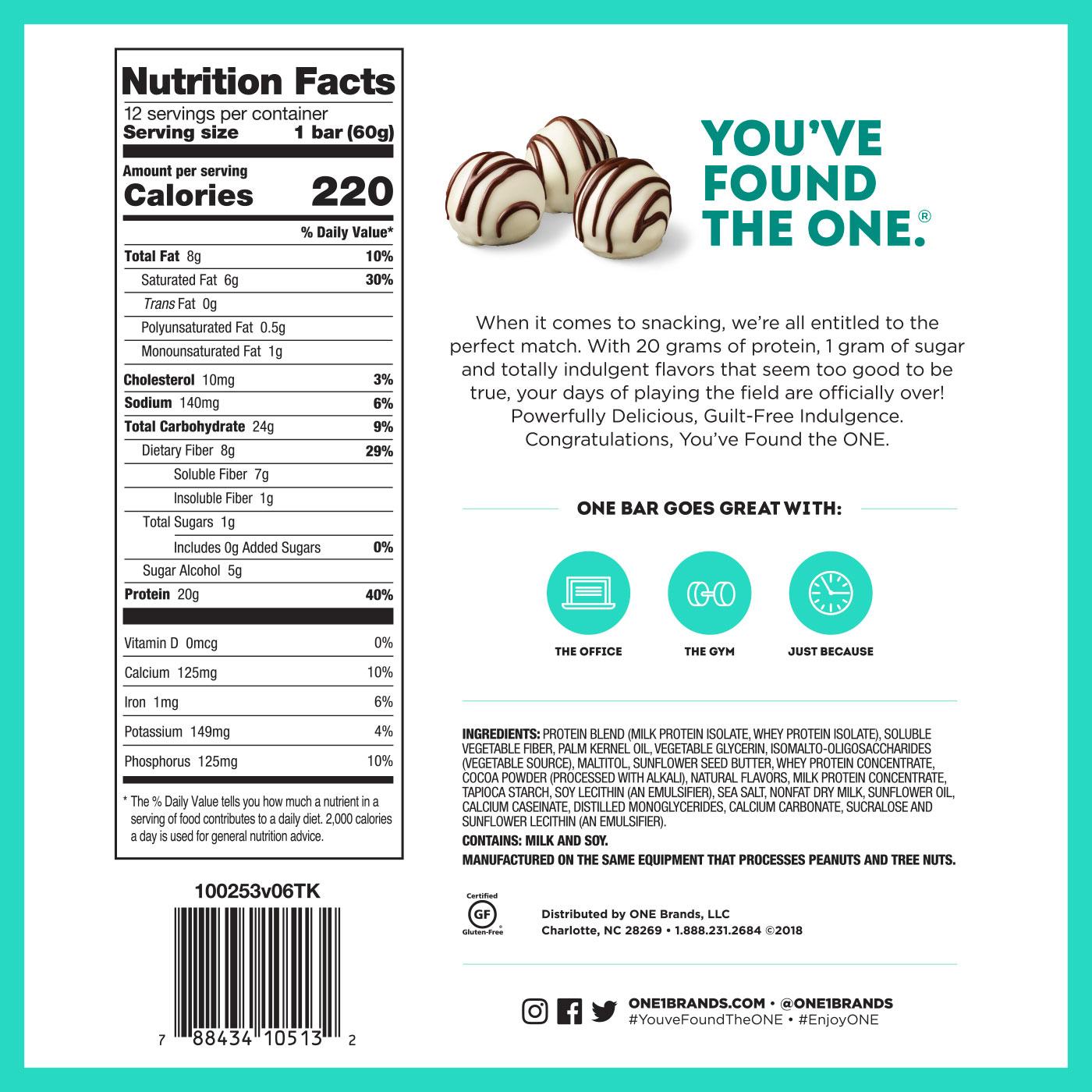 ONE Bar White Chocolate Truffle Protein Bar | 20g Protein. 1g Sugar.